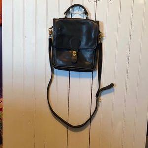 Coach Willis Crossbody Leather Black Saddle Bag